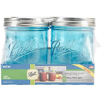 Ball (R) Wide Mouth Canning Jars 4/pkg-Pint - Elite Color Series Blue 69023