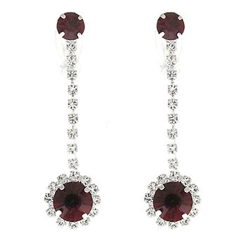 Clip On Earrings Store Ruby Red Crystal Pendant Drop Clip On Earrings