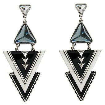 Noir et blanc émail Egypte Triple Triangle boucles d'oreilles
