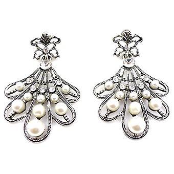Antik sølv Pearl og Crystal Fan dråbe øreringe