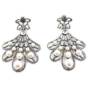 Antique Silver Pearl  and  Crystal Fan Drop Earrings