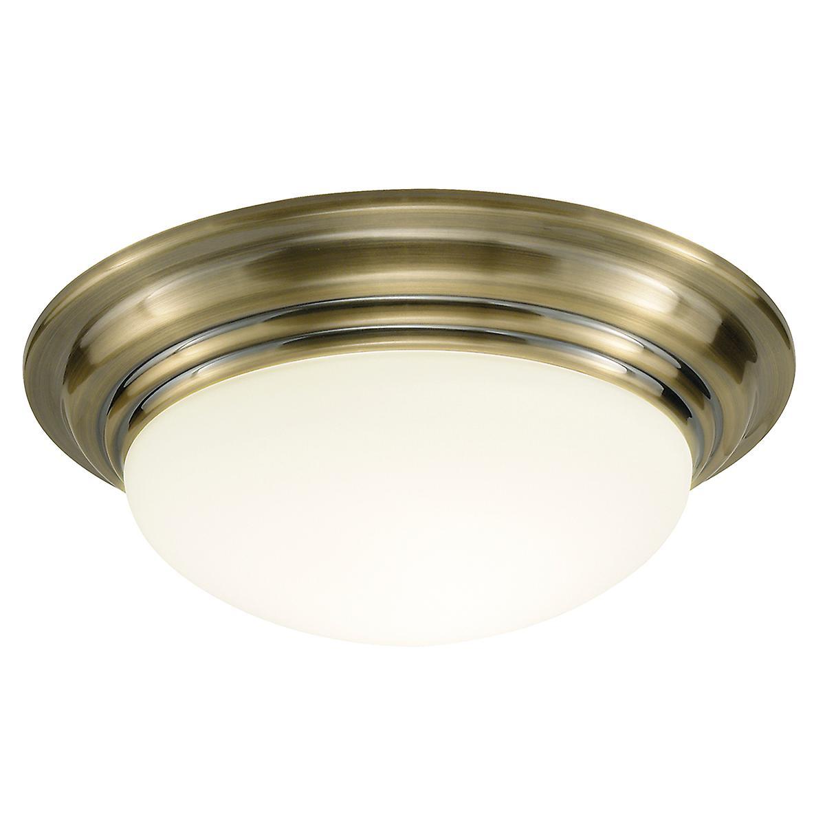 Dar BAR5075 Barclay Traditional Antique Bathroom Flush Ceiling Light - 38cm