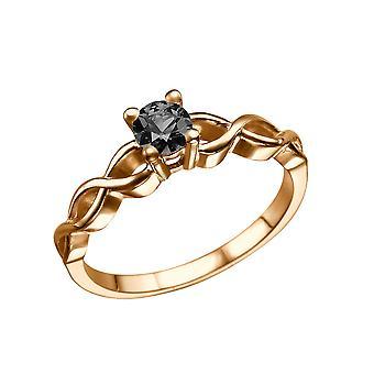 14K Rose Gold 0.70 CT Black Diamond Ring Twisted gevlochten unieke