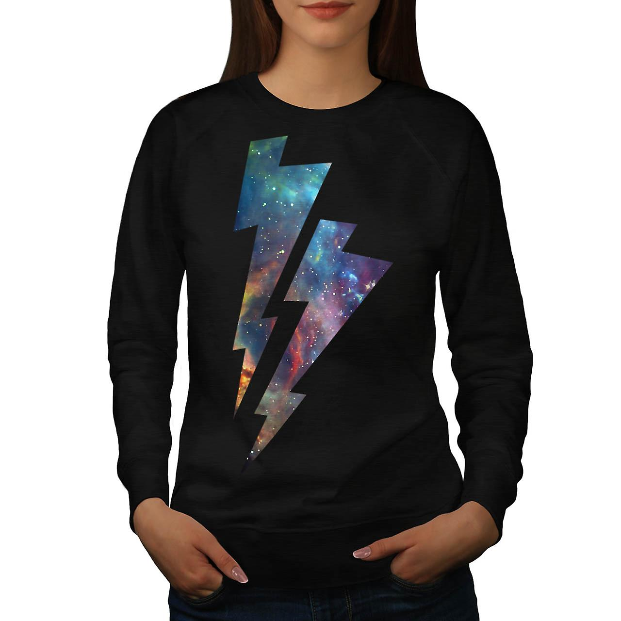 Lightning Strike Space Cosmos Women Black Sweatshirt | Wellcoda