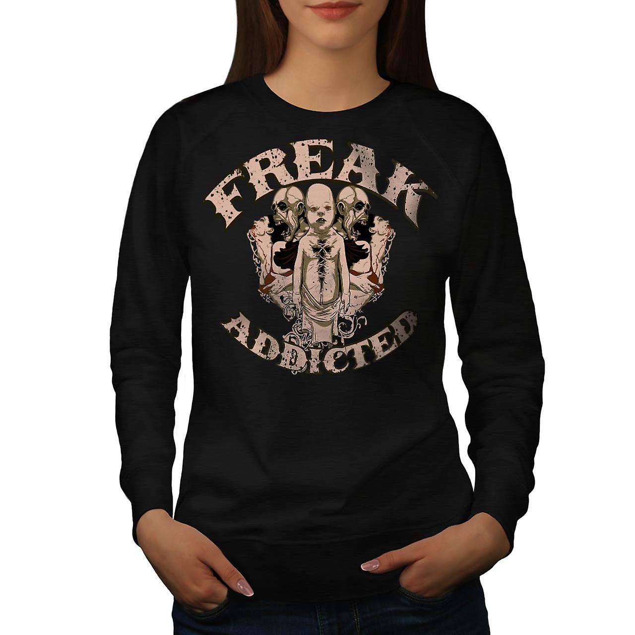 Freak Addicted Zombie Women Black Sweatshirt | Wellcoda