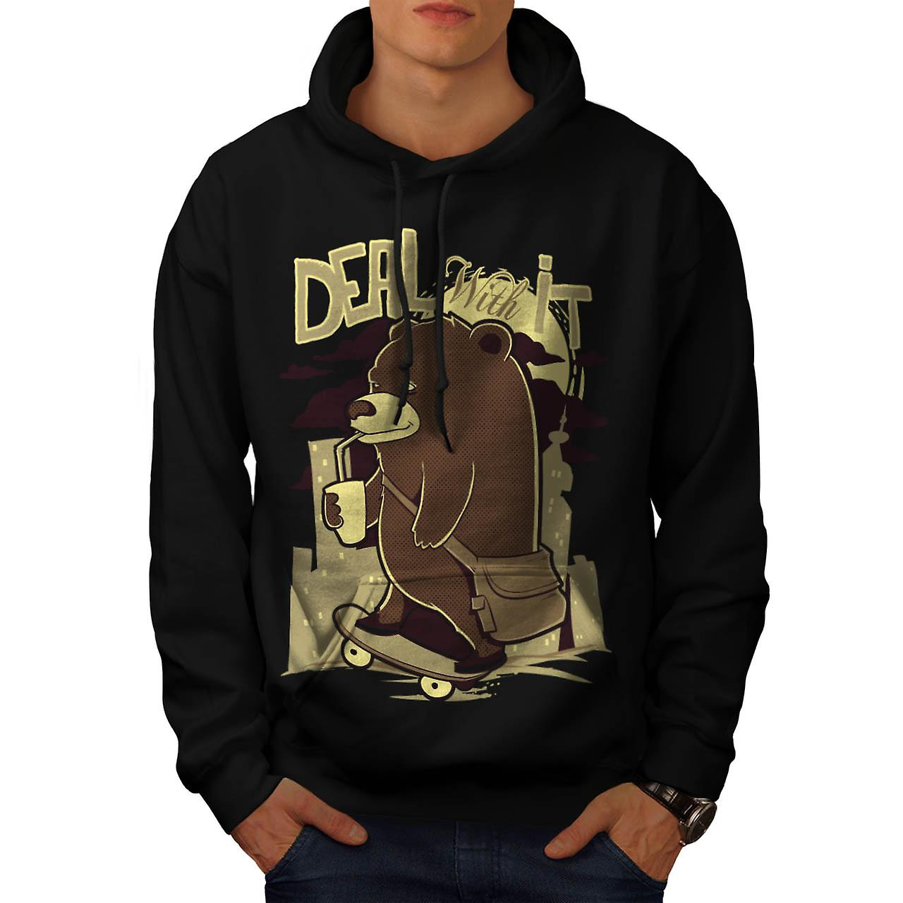 Deal With It Bear Funny Men Black Hoodie | Wellcoda