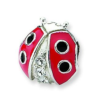 Sterling Silver Enamel Polished Reflections Ladybug With Crystal Bead Charm