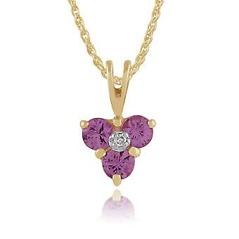 9ct Yellow Gold 0.36ct Pink Sapphire & Diamond Classic Cluster Pendant on Chain