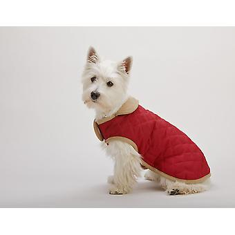 Dog Gone Smart Suede Quilted Belly Coat Red 40cm (16