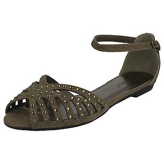 Ladies Bamboo Flat Diamante Trim Sandals L6750