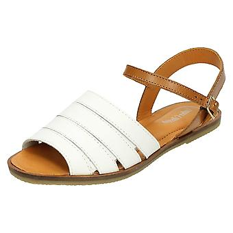Ladies Leather Collection Flat Ankle Buckle Mules