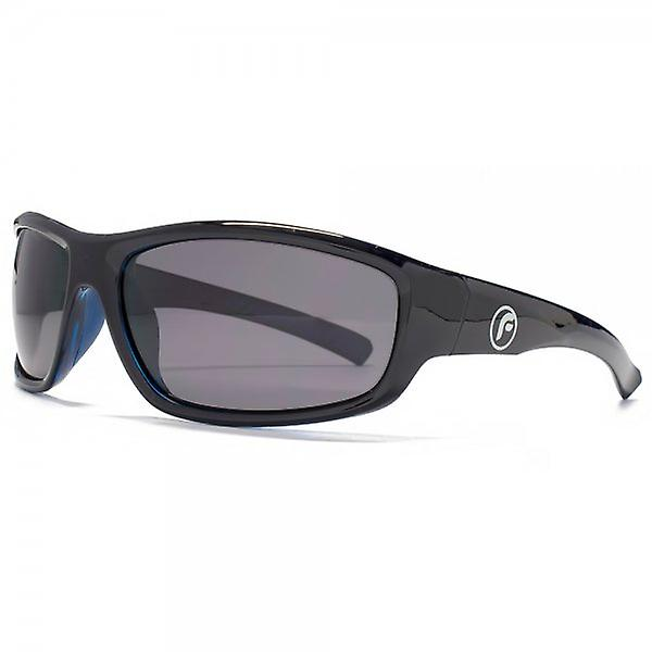 Freedom Polarised Small Wrap Sunglasses In Black On Blue