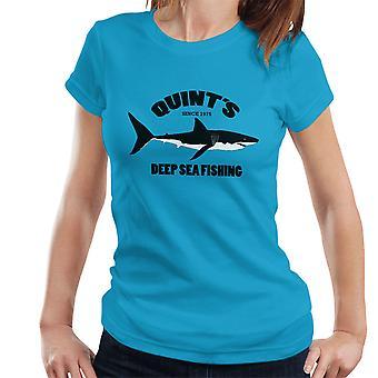 T-shirt quíntuplas Deep Sea pesca tubarão feminino