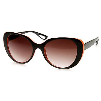 Womens Fashion Oversized Neon Two-Tone Round Sunglasses