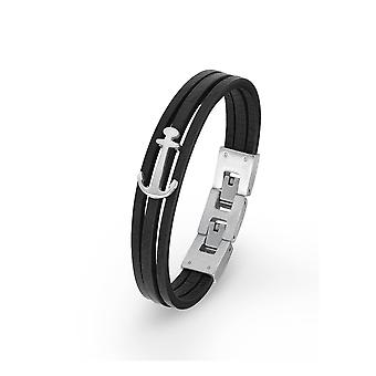 s.Oliver jewel children and youth black leather bracelet stainless steel anchor 2018843