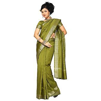 Tela verde oliva arte seda sari Sari India oro frontera