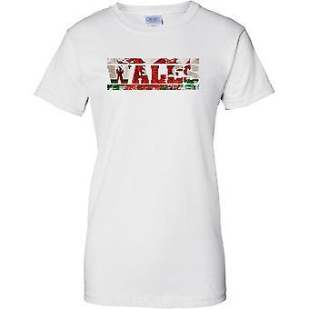 País de Gales Grunge país nome bandeira efeito - dragão - senhoras T Shirt