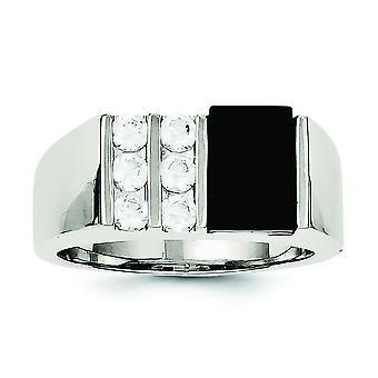 スターリングシルバー固体洗練されたオープン バック メンズ キュービックジルコニアとシミュレート オニキス リング - 指輪のサイズ: 9 に 11