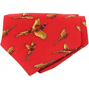 David Van Hagen Flying Pheasant Silk Twill Country Cravat - Red