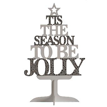 Christmas Shop Wooden Text Tree Decoration