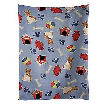 Toalla de cocina blanco rojo de Bull Terrier de colección de perro casa