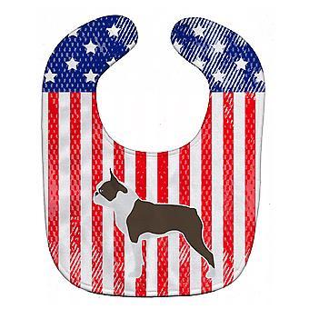Carolines schatten BB3344BIB VS patriottische Boston Terriër Baby slabbetje