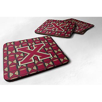Set of 4 Letter X Football Garnet and Gold Foam Coasters Set of 4