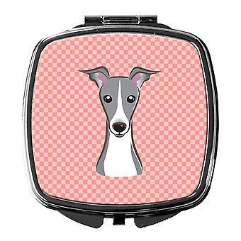 Checkerboard Pink Italian Greyhound Compact Mirror
