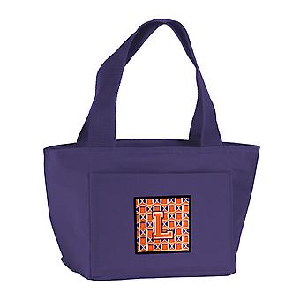 Letter L Football Orange, White and Regalia Lunch Bag