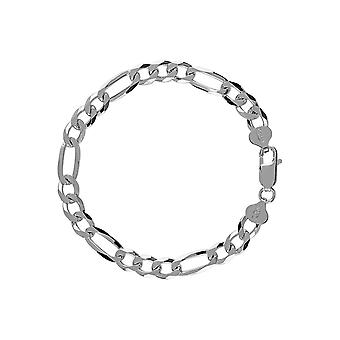 Solid Sterling Silver 925 Mens Gents Figaro Chain Heavy Bracelet Width 7mm