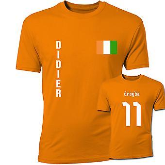 Didier Drogba Ivory Coast flagg T-Shirt (oransje)