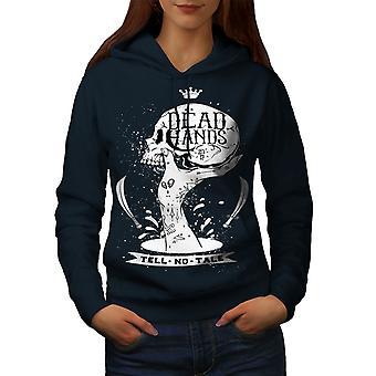 Dead Hand Goth Women NavyHoodie | Wellcoda
