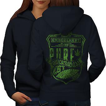 Pure Weed Leaf Women NavyHoodie Back | Wellcoda