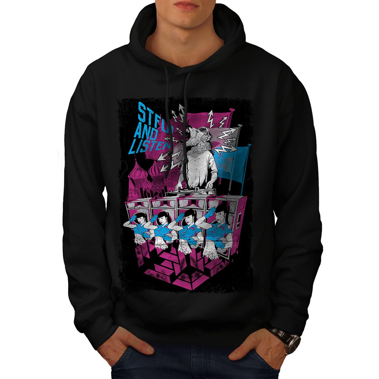 STFU Listen Dance Music Men Black Hoodie | Wellcoda