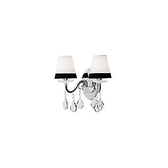 Domus Chrome And Crystal Wall Light With Black And White Shades - Ideal Lux 93321