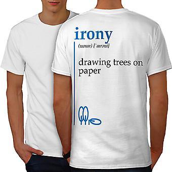 Irony Drawing Men WhiteT-shirt Back | Wellcoda