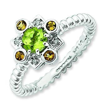 2.5mm Sterling Silver Bezel Polished Prong set Rhodium-plated Stackable Expressions Peridot Citrine and Diamond Stackabl