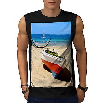 Boat Beautiful Sea Men BlackSleeveless T-shirt   Wellcoda