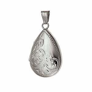 Silver 30x20mm half engraved teardrop Locket