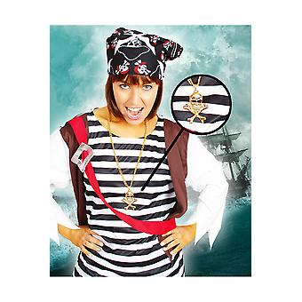 Calavera de pirata de collar joyas y coronas