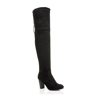 Ajvani womens block high mid heel pull on lace riding thigh over the knee boots