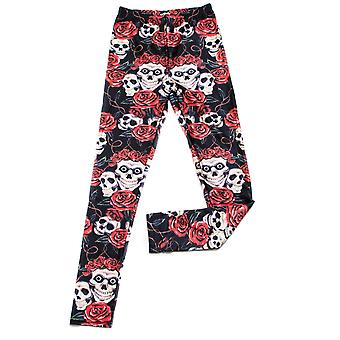 Adults Halloween Day of the Dead Skull and Rose Printed Leggings