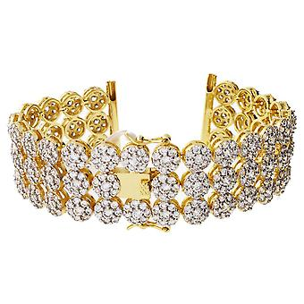 Iced out CLUSTER watches bracelet - 3 ROW GOLD CLEAR