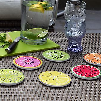 Citrus and Summer Fruit Slice Drinks Coasters