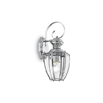 Ideal Lux Norma Chrome Wall Lantern With Clear Glass