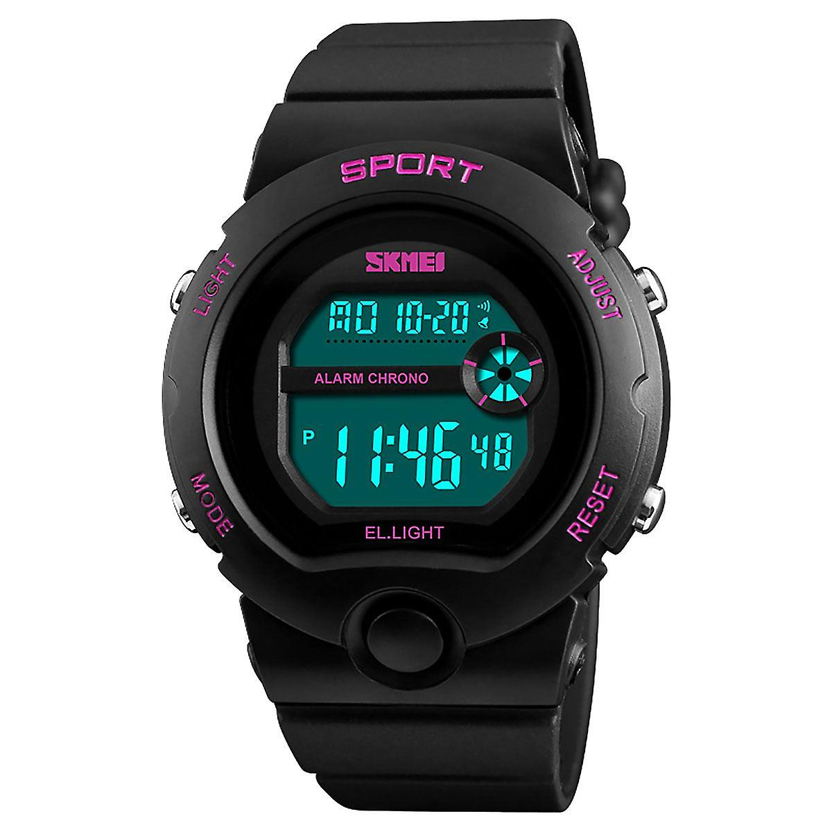 SKMEI Girls Black Digital With Pink Markers Watch 50m Water Resistant With Stopwatch Alarm Perfect For Ages 5-13 DG1334B