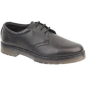 Amblers Ladies Aldershot Lace Leather Gibson Shoe Black