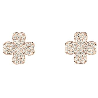 Latelita Sterling Silver Lucky Leaf Clover Small Stud Earrings Rosegold Gold CZ