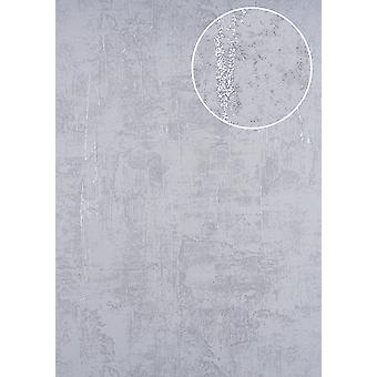 Trowel plaster wallpaper ATLAS here-5133-4 non-woven wallpaper coined in the Shabby chic style shimmering silver perl-bright eyed 7,035 m2