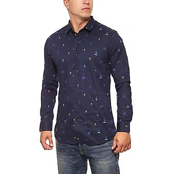 GLO STORY Kent-collar long sleeve shirt London print men's Blau